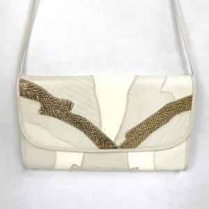80s Vintage White Leather Snakeskin Envelope Purse